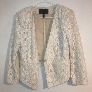 BCBG Max Azria Bowie White Lace Jacket Blazer Med